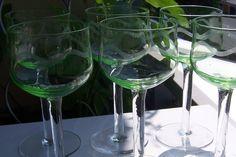 6 Jugendstil Weingläser Uranglas Kuppa mit Wellenschliff Weinglas | eBay