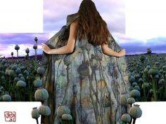 Felt Art By Kira Outembetova. ` Poppy Pods ` Long Sleeveless Vest, Back.