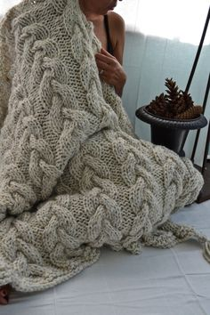 BRAYDEN Throw, Hand-knit Cable Throw Blanket - Acrylic/Wool Blend, 45 x 60…