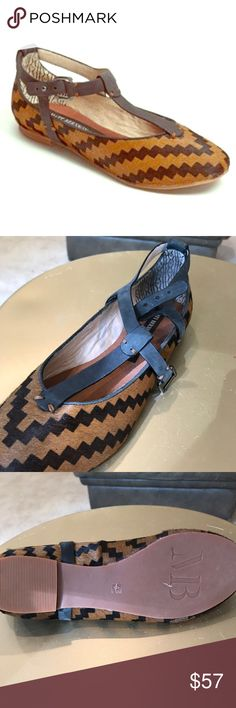 Anthropologie brand Matt Bernson t-strap flatsNEW. Never worn Aztec print calf hair with beautiful craftsmanship on the t-strap.  Unique and surprisingly versatile.  Small pea sized patch on back heel has fur worn down.  Price reflects. Anthropologie Shoes