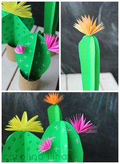 Mini jardín de cactus de papel y rollos de cartón | #Artividades Farm Crafts, Diy And Crafts, Paper Crafts, Mexican Birthday, Mexican Party, Seasons Activities, Mexican Christmas, Cactus Decor, Cactus Y Suculentas