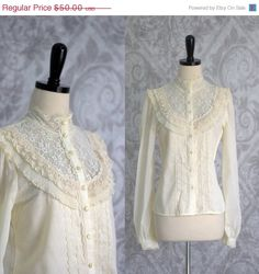1970s Victorian Style Gunne Sax Blouse $40 by SassySisterVintage