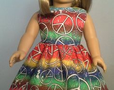18 inch doll clothes Handmade Multi Colored Peace Sign Dress made for American Girl Our Generation