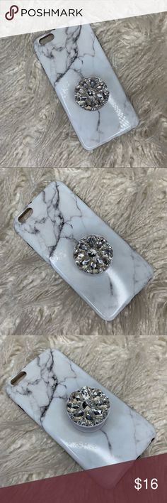 13305101fda iPhone Plus Marble Case with Popsocket Marble white case compatible with  IPhone 8 Plus 7 Plus 6 Plus 6S Plus case with rhinestone jeweled popsocket.