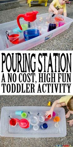 Pouring Station Activity for Toddlers - Busy Toddler - - A no-cost, high fun toddler activity using just water and cups. Create a simple pouring station that will hold your toddler's attention for a long while. Fun Activities For Toddlers, Infant Activities, Preschool Activities, Sensory Play For Toddlers, Outdoor Toddler Activities, Educational Activities, Indoor Activities, Outdoor Games, Outside Kid Activities