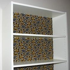 How to refurbish IKEA furniture - cover your bookcase in fabric to give it some life or change it up!