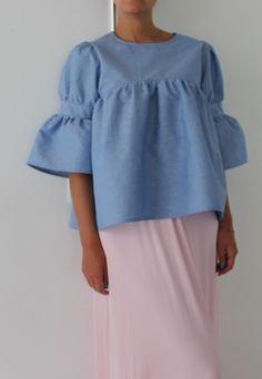 NEW SS Denim Maxi Top, Ruffle top, Ruffle blouse, Cotton top | Cherry Blossoms Dress | ASOS Marketplace