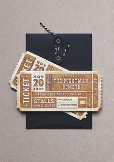 Personalised laser cut wooden tickets - Theatre