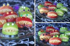 Quarter apples and take a wedge out of the center of each quarter. Dunk them in water with a little lemon juice to prevent browning. Use slivered almonds for teeth (I toasted mine for color and taste!) Eyes are optional. I stuck pretzel rods in and attached candy eyes with peanut butter.