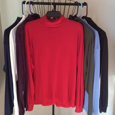 Turtle neck tops Size XL, Cotton, ployester blend turtle neck shirts. Colors in red, navy blue, light blue, purple, white, black and green  . Machine wash. Good condition. $5.00 each or all 7 for $30.00. Bobby Brooks Tops