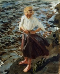 """Windswept Girl"" Akseli Gallen-Kallela (Pori, † w Finnish painter. Teacher of Hugo Simberg, also an important Finnish symbolist. Nordic Art, Scandinavian Art, Scandi Art, Paintings I Love, Art Paintings, Illustrations, Illustration Art, Helene Schjerfbeck, Beach Art"