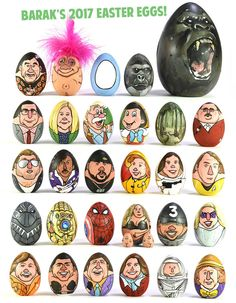 Easter Eggs Characters Decorations by Barak Hardley