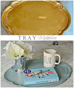 This gold, gaudy and chipped garage sale tray was given new live with an antique treatment and Annie Sloan chalk paint - check out the before and after! Silver Serving Trays, Silver Trays, Silver Platters, Chalk Paint Projects, Diy Craft Projects, Breakfast Tray, Painted Trays, Diy Chalkboard, Metal Trays