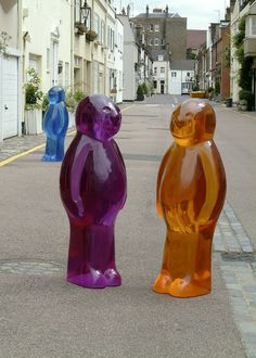 """Giant """"Jelly Babies"""" sculptures by  Mauro Perucchetti."""