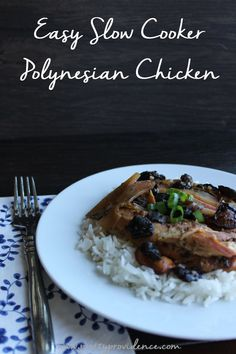 Easy slow-cooker Polynesian chicken! I can't believe how good this was, any slow cooker recipe that's this flavorful is a major win in my book!