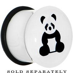 00 Gauge White Acrylic Panda Bear Single Flare Plug | Body Candy Body Jewelry #bodycandy