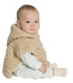 Wee Hooded Poncho - SIZE: 12 mos, 24 months (2 yrs); 3 sk LB Homespun and a J hook free pdf