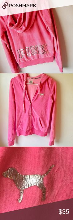 VS Pink velour pink track jacket XS but could probably fit a small as well. Great condition, some signs of wear as pictured but very slight. PINK Victoria's Secret Tops Sweatshirts & Hoodies