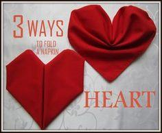 Napkin Folding:3 Ways to Fold a Napkin Heart
