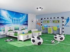 Bruder-Fußballer des Kinderzimmers: Kinderzimmer im Stil . Football Theme Bedroom, Kids Sports Bedroom, Football Rooms, Cool Kids Bedrooms, Boys Bedroom Decor, Boys Room Design, Kids Bedroom Designs, Boy Room, Kids Room