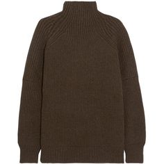 Victoria Beckham Ribbed wool turtleneck sweater (£785) via Polyvore featuring tops, sweaters, green, ribbed sweater, loose turtleneck, turtle neck sweater, brown turtleneck and green turtleneck