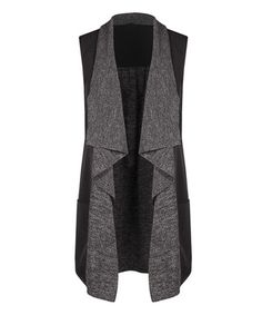 Another great find on #zulily! Black & Gray Mélange Open Vest #zulilyfinds