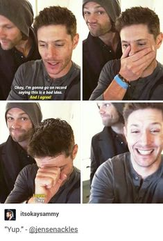 Jensen Ackles and Jared Padalecki Supernatural Bloopers, Supernatural Tattoo, Supernatural Imagines, Supernatural Wallpaper, Supernatural Memes, Supernatural Crossover, Jensen Ackles, Jared E Jensen, Jared Padalecki