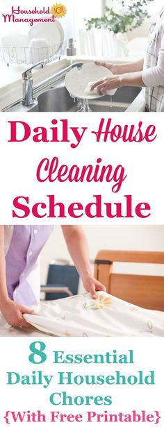 Free printable daily house cleaning schedule listing 8 essential daily household chores that will keep your house looking good most of the time