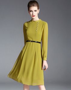 #VIPme Yellow Chiffon Long Sleeve Slim Fit Dress ❤️ Get more outfit ideas and style inspiration from fashion designers at VIPme.com.