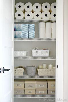 Tips for an organized storage closet Kitchen Cupboard Organization, Linen Closet Organization, Closet Storage, Kitchen Cupboards, Bathroom Organization, Organization Ideas, Storage Ideas, Rustic Bathroom Vanities, Chic Bathrooms