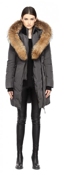 KAY-F5 | LONG CHARCOAL WINTER DOWN COAT WITH FUR HOOD FOR WOMEN | MACKAGE