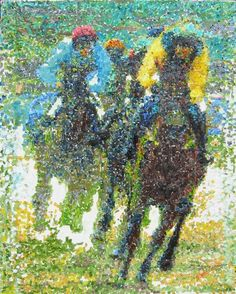 Oil on canvas. Race starts and every horse in its own track running to win. Finalists reach the end and completion continues to the ultimate extend.