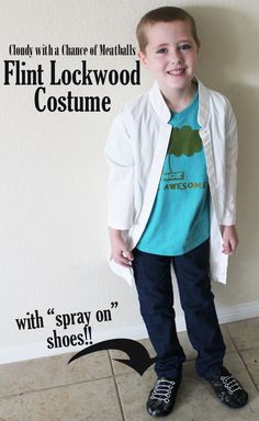 Cloudy with a chance of Meatballs Flint Lockwood costume with Spray on Shoes