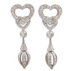 CARTIER Double Heart Diamond Earrings <3  <3