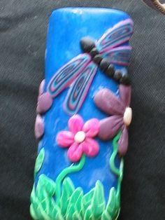 Polymer Clay Dragonfly n Flowers Lighter Case