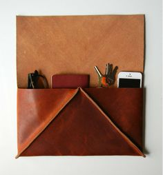 Caramel Brown Leather Clutch Geometric Triangle by CrowSLC. On Etsy
