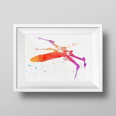 X-Wing Print XWing Watercolor Art Star Wars water by bigfamilyart