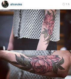 Red flower arm tattoo
