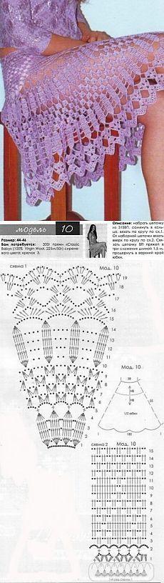 Связать ажурную юбку Описание юбки взято из журнала. Ажурная юбка связана крючком №3 из 300 г пряжи (100% Virgin Wool, 225 м/50 г). Размеры 44-46. Как связать ажурную юбку