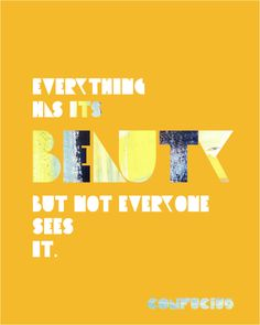 Quote: Everything has its beauty but not everyone sees it