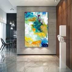 Extra Large Wall Art Original Handpainted Contemporary XL Abstract Painting Horizontal Vertical Huge Size Art Bright and Colorful Large Abstract Wall Art, Large Artwork, Colorful Wall Art, Extra Large Wall Art, Canvas Wall Art, Wall Art Prints, Abstract Landscape, Hallway Art, Office Wall Art