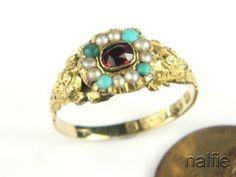 ENGLISH 9K GOLD GARNET PEARL TURQUOISE RING c1860 | eBay