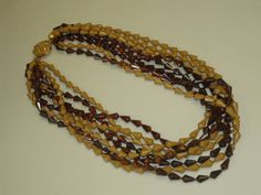 8 Strand VINTAGE Beaded NECKLACE Costume Fashion JEWELRY Brown Beige Tortoise Plastic 23 Inch by QuillingCraftJewelry on Etsy