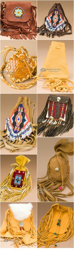 Some medicine bags are simple pouches while others have a lot of work in their creation. One with a distinct purpose such as a medicine bag filled with cedar and sage or a tobacco bag. http://www.missiondelrey.com/native-american-medicine-bags/