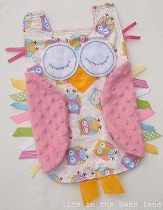 Pink owl ribbon tag baby minky blanket by LifeintheSassLane on Etsy
