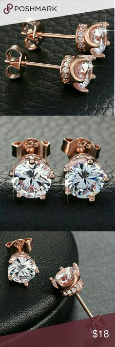 18k Rose Gold Crown Diamond Cz Stud Earrings ✴100% Brand New!!! ✴18k Rose Gold over Sterling Silver 4MM Diamond Cubic Zirconia Cz Noble Crown Stud Earrings ✴Metal : 925 Sterling Silver Hallmark/Stamped: 925  ✴Closure: Push-Back Butterfly  ✴Stones: High Quality Diamond Cubic Zirconia that Sparkle Glitters Shine Like Real Diamonds ✴Excellent Clarity  ✴100% Guarantee High Quality ✴100% Lead and Nickel Free ✴Will Not Tarnish or Fade ✴For Men and Women/Unisex  ❤Check Out Our Other Listings For…