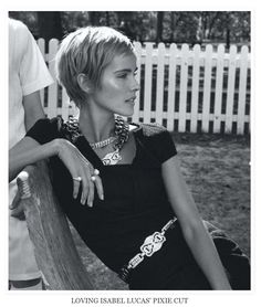Another angle on Isabel Lucas' pixie. Wispy sides, more fullness in back, swept to the side. My goal, right here.