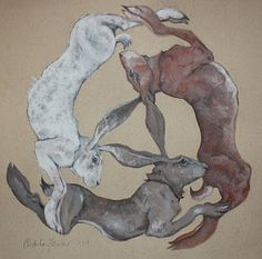'Triple Hares' by Charlie Farrow Rabbit Run, Jack Rabbit, Rabbit Drawing, Year Of The Rabbit, Watership Down, Bunny Art, Ancient Symbols, Pet Birds, Art Images
