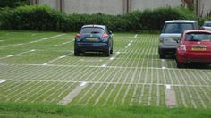 Commercial car parking built with sustainable grass reinforcement Block Paving Driveway, Permeable Driveway, Grass Pavers, Concrete Driveways, Parking Lot, Car Parking, Southern Landscaping, Landscaping Trees, Modern Landscaping
