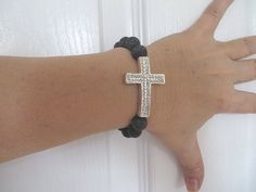 Black Bracelet Crystal Cross Bracelet Stretch by RitzyandGlitzy